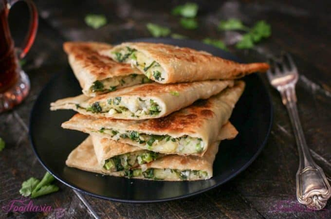 Afghani Bolani – Potato, Green Onion, and Cilantro Stuffed Flatbread