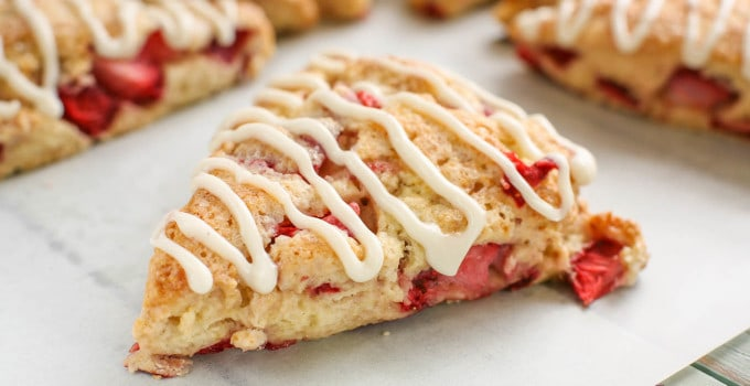 Strawberries and Cream Scones with Cream Cheese Glaze