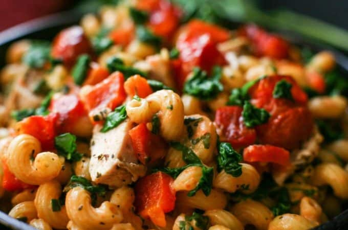 Tomato Mascarpone Pasta with Roasted Red Peppers, Burst Tomatoes, and Baby Spinach