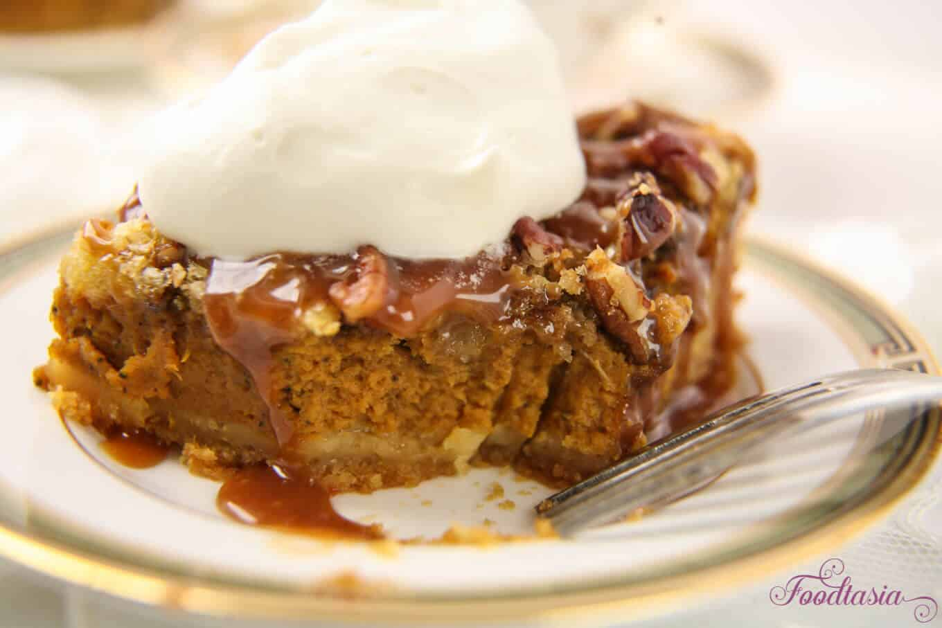 Pecan Crumble Pumpkin Cobbler With A Caramel Drizzle