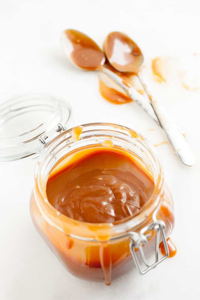 Deliciously smooth and luscious caramel sauce that is the best I've ever tasted. Pure caramel deliciousness with specks of vanilla bean and perfect texture.