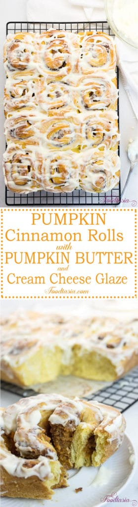 I'm in love with these Pumpkin Cinnamon Rolls with Pumpkin Butter and Cream Cheese Glaze! Made with a rich, pumpkin infused dough, filled with a scrumptious pumpkin butter, cinnamon sugar swirl, then topped with a smooth and luscious cream cheese icing, they are absolutely divine!