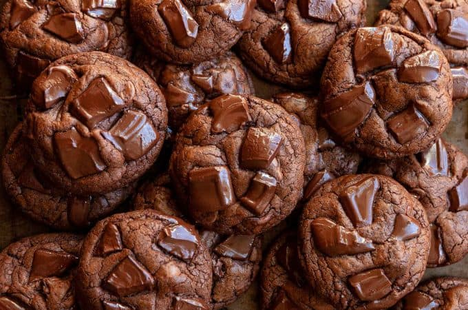 These easy Triple Chocolate Cookies are thick and chewy with an intense chocolatey center. A chocolate lover's dream!