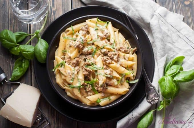 Creamy, Cheesy Italian Sausage and Basil Penne