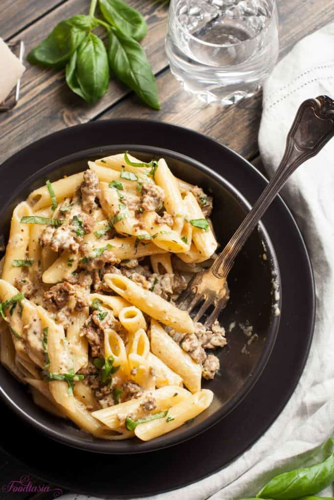 Creamy, Cheesy Sausage and Basil Penne