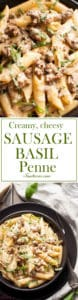 Creamy, Cheesy Sausage and Basil Penne is comfort food at its best.