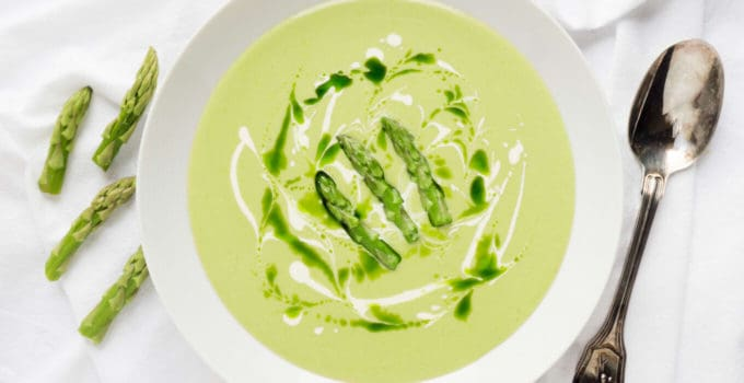 Spring Green Fresh Asparagus Velouté with Crème Fraîche and Chive Oil