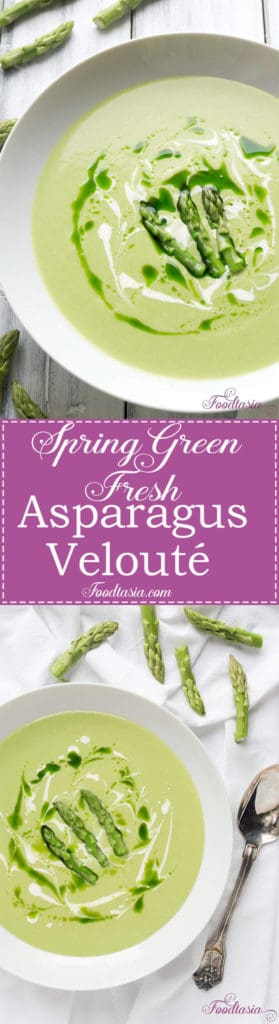 Velvety smooth, Spring Green Fresh Asparagus Velouté is a blissfully welcomed rite of spring. Luxurious and creamy, the delicate flavor of asparagus is gloriously sublime.