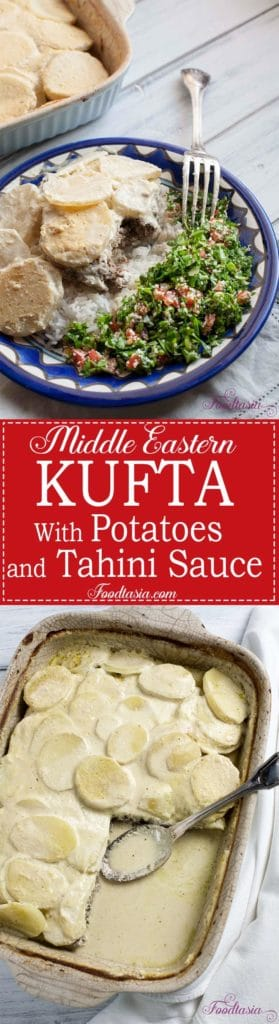 I think of Middle Eastern Kufta Baked with Potatoes and Tahini Sauceas something of a Middle Eastern meatloaf and potato casserole. Onion, herbs,and warm Middle Eastern spicesare mixed with ground beef, then topped with sliced potatoes andcovered with a creamy tahini and yogurt sauce that is fragrant with lemon and garlic. A dish that is truly homey and comforting.