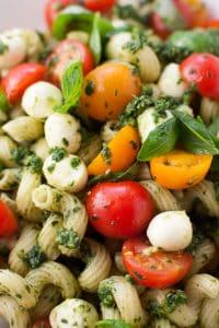 Pasta Caprese with Pesto, Cherry Tomatoes, and Fresh Mozzarella