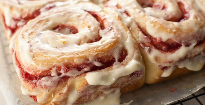 Fresh Strawberry Sweet Rolls with a Lemony Cream Cheese Glaze