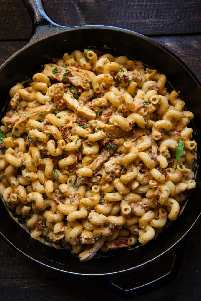 Pasta with Bacon, Sun-Dried Tomato and Mascarpone – Rich, creamy mascarpone fragrant with crispy bacon, savory sun-dried tomatoes, and aromatic fresh basil is tossed with a curly cavatappi and topped with sliced, grilled chicken breasts. A wonderfully delicious dish!