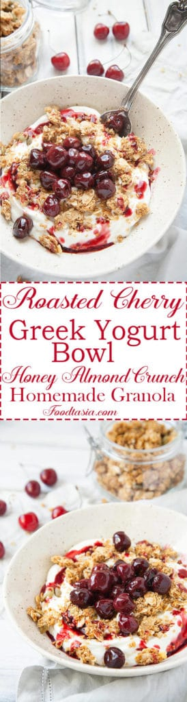 Roasted Cherry Greek Yogurt Bowl - Creamy, luscious Greek yogurt is sprinkled with a delicious, crunchy homemade granola and topped with these lovely Roasted Cherries.