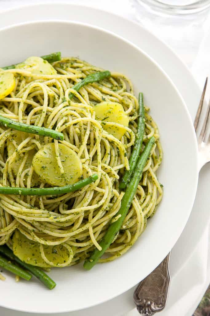 Pasta with Pesto, Green Beans, and Potatoes is the classic Genoese pasta dish. According to Marcella Hazan, there is no single dish more delicious in the entire Italian pasta repertory.