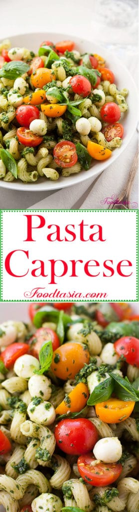 Full of fragrant basil, juicy sweet tomatoes, garlicky pesto, and creamy fresh mozzarella, Pasta Caprese with Pesto, Cherry Tomatoes, and Fresh Mozzarella is bursting with fresh summer flavors. Delicious served warm or cold.