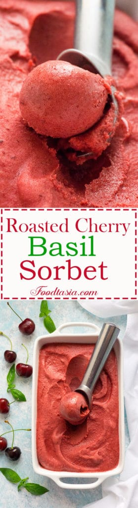 Luscious and vibrant, with a slight hint of fragrant basil, Roasted Cherry Basil Sorbet is a refreshing, delicious taste of summer.