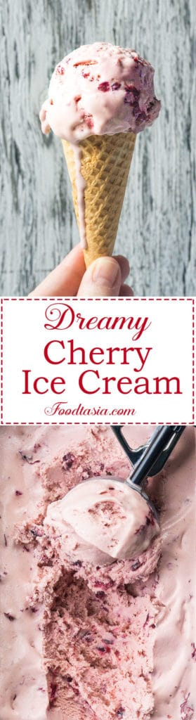 This Dreamy Cherry Ice Cream is smooth and luscious with the delicate flavor of fresh cherries.