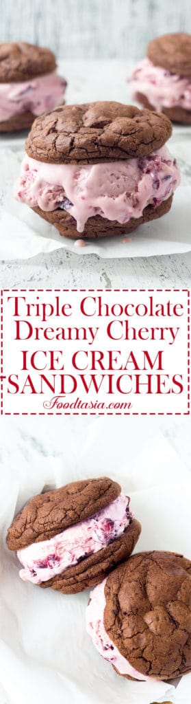 Chewy, Triple Chocolate Cookie and Dreamy Cherry Ice Cream Sandwiches make a wonderfully delicious and decadently indulgent combination!