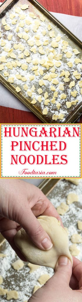 Hungarian Pinched Noodles - Csipetke - are an easy to make egg noodle in the shape of a dumpling. Add Hungarian Pinched Noodles tosoups and stews and voilà!- instant comfort food.