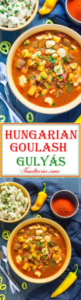 Fragrant with Hungarian Paprika and Hungarian Hot peppers and brimming with chunks of tender beef, healthy vegetables, and homemade pinched csipetke noodles, Hungarian Goulash (Gulyás) is a heart warming, soul satisfying comfort food.