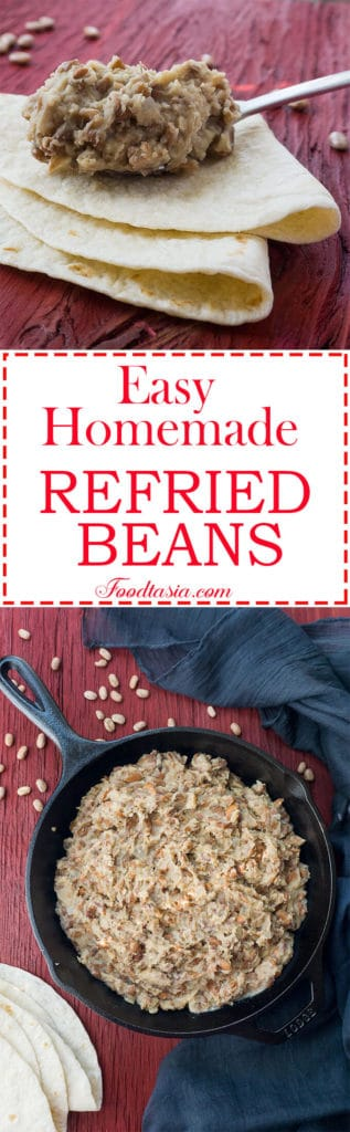 These Easy Homemade Refried Beans are fragrant with onion,garlic, and earthy pinto beans with a hint of smoky bacon.