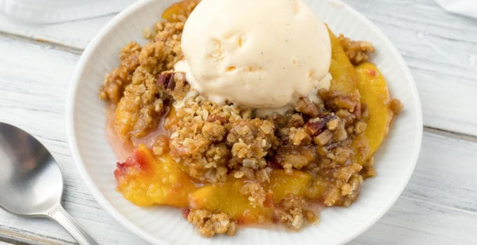 Peach Crisp with a Brown Sugar, Oatmeal, Pecan Crumble