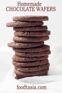 Crisp and chocolatey, but not overly sweet, these Homemade Chocolate Wafers are a copycat of Nabisco Famous Chocolate Wafers but so much better. Essential for chocolate cookie crumb crusts and perfect with a glass of milk or a cup of coffee. #cookie #cookierecipes #holidays #holidaycookies #holidayrecipes #chocolate #chocolatecookies #chocolatecookierecipes