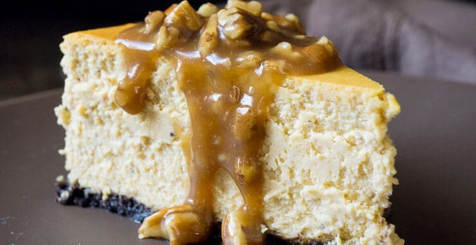 Pumpkin Cheesecake with Pecan Praline Sauce