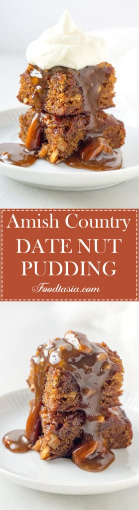 This wonderfully delicious Amish Country Date Nut Pudding is dense, moist, and very rich - topped with a Pecan Praline Sauce and a dollop of whipped cream – it's heavenly!