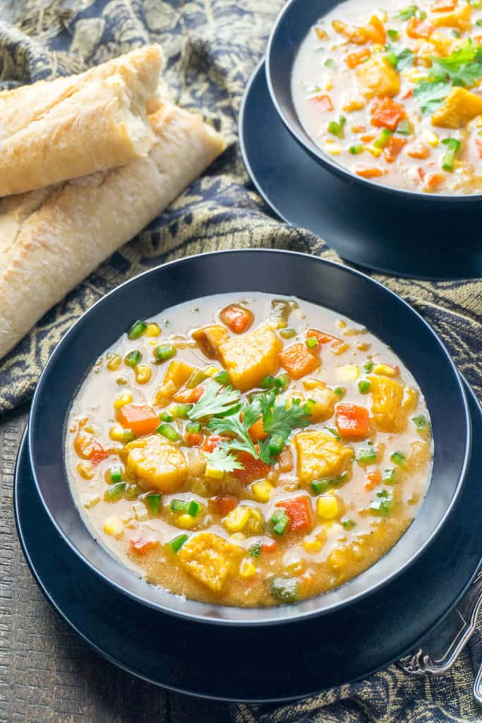 Slightly spicy, slightly sweet, this Chipotle Roasted Pumpkin Chowder is big on Tex-Mex flavors with roasted pumpkin, spicy charred peppers, smoky chipotle, and sweet corn.