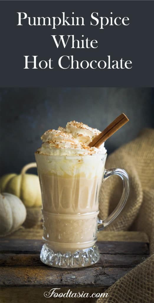 This creamy and smooth Pumpkin Spice White Hot Chocolate is lightly sweetened with white chocolate and fragrant with pumpkin and autumn spices.