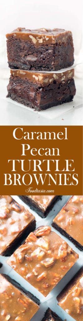 Triple-layer Fudgy Caramel Pecan Turtle Brownies - a dense, fudgy brownie on top of an Oreo cookie crust topped with a chewy caramel and pecan topping.