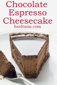 Luscious and creamy, this Chocolate Espresso Cheesecake is chocolate heaven - rich chocolate cheesecake with the perfect hint of espresso to deepen and balance the flavor, a pecan and chocolate cookie crust, and topped with chocolate ganache. #chocolate #chocolatecheesecake #cheesecake #dessert