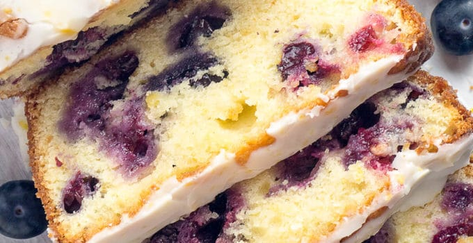 Double Glazed Blueberry Lemon Pound Cake