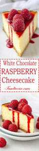 Ultra-smooth, rich and creamy white chocolate cheesecake on a buttery shortbread cookie crust, topped with raspberry sauce and fresh raspberries, this White Chocolate Raspberry Cheesecake is a favorite flavor combination.
