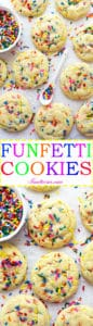 These Soft and Chewy Funfetti Cookies are the sugar cookies of your dreams filled with colorful, crunchy sprinkles. One-bowl, easy to make, and so much FUN!