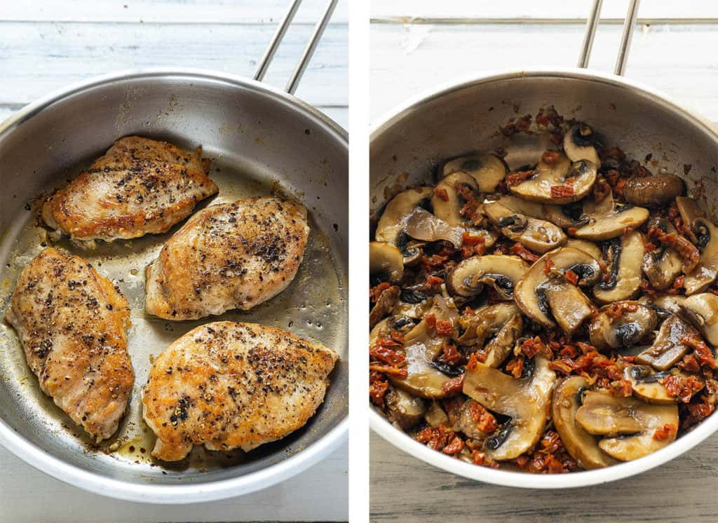Tender, juicy chicken breasts in a creamy parmesan sauce with sun dried tomatoes and mushrooms - this Chicken with Sun Dried Tomato Cream Sauce is full of flavor and ready in under 30 minutes. Elegant enough for a date night, quick and easy enough for a weeknight dinner. Sure to be a family favorite!