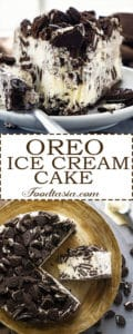 So delicious and super easy! Oreos and vanilla ice cream are a match made in heaven! This Oreo Ice Cream cake has an amazingly delicious Oreo cookie and vanilla ice cream filling, sitting on crunchy Oreo cookie crust, and topped with even more Oreos. Three ingredients, no bake, and you can put it together in just a few minutes. One of my most requested desserts and unbelievably easy to make.