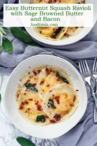Butternut Squash Ravioli topped with crispy sage, browned butter, and crunchy bacon – my favorite dish for fall! Easy to make with dumpling or wonton wrappers. Truly comfort food at its finest! #ravioli #butternut #butternutsquash #butternutsquashrecipes #pasta #pastafoodrecipes #recipesfordinner #recipeseasyfast #easy #shortcut #shortcutfoodie #easydinner #easydinnerrecipes #easydinnerideas