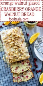 This Cranberry Orange Walnut Bread is bursting with fresh cranberries, orange juice and zest, and roasted walnuts. Topped with a bright and citrusy orange and walnut glaze, it's the perfect treat for the holiday season! #cranberry #cranberrybread #cranberryrecipe #cranberryorange #recipes #holidayrecipes