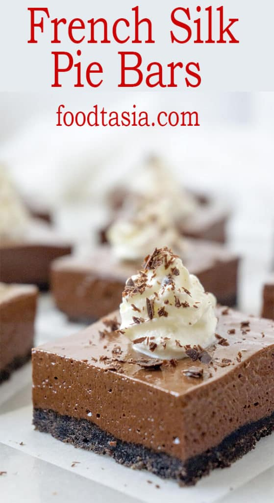 These Dreamy French Silk Pie Bars have a luxuriously dense, mousse-like filling that is incredibly rich and silky smooth with an Oreo cookie crumb crust. #chocolate #chocolate recipes #chocolatedessert #chocolatepie #easy #easyrecipe #recipes #bars #barsrecipes