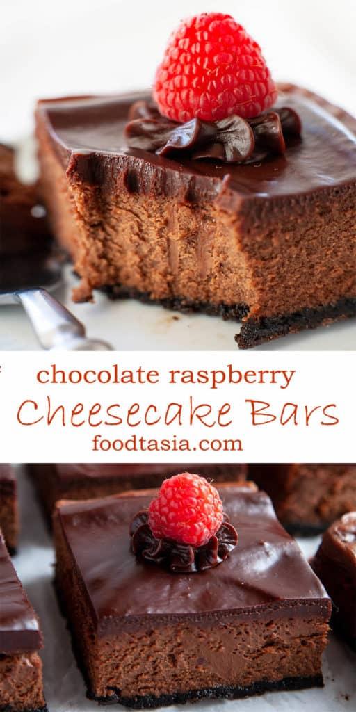 Chocolate Raspberry Cheesecake Bars - ultra-creamy and intensely chocolatey cheesecake with raspberry ganache and an Oreo crust. Decadent. Delicious. Easy. #chocolate #cheesecake #cheesecakebars #bars #oreo #dessert #chocolatecheesecake #raspberry #easy #cake #chocolatecake