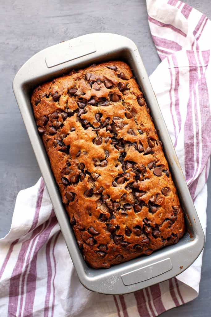 This simply irresistible Chocolate Chip Banana Bread is the best I've ever had. It's light and fluffy, perfectly moist, and full of banana flavor. #bananabread #banana #loaf #quickbread #breakfast #chocolate #chocolatechip #brunch #easy #quick #recipe