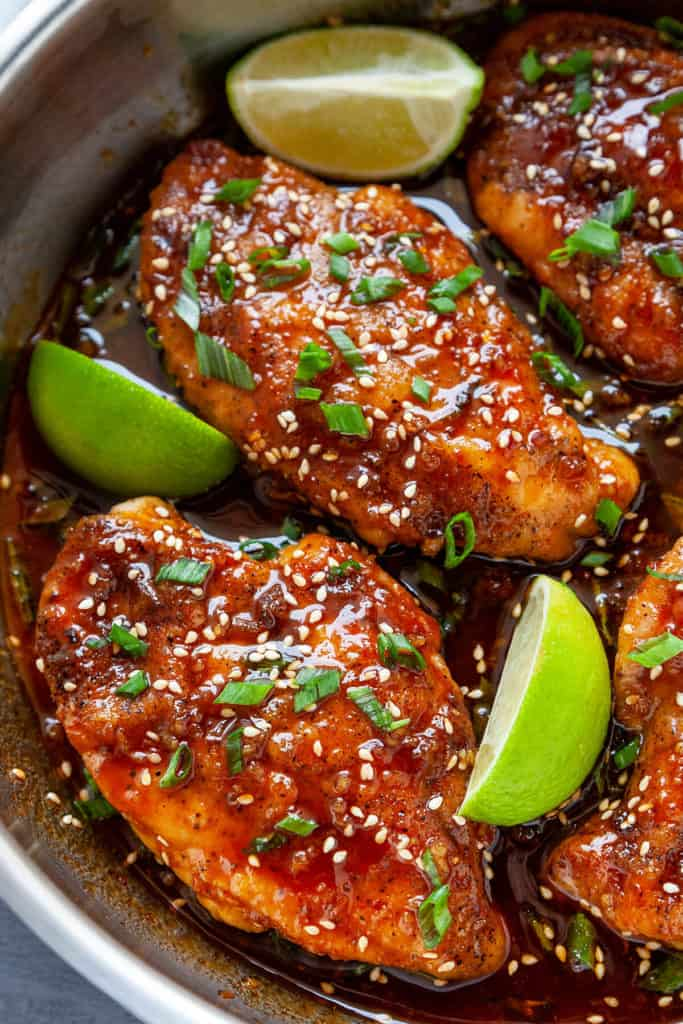 Honey Sriracha Chicken Breasts Foodtasia