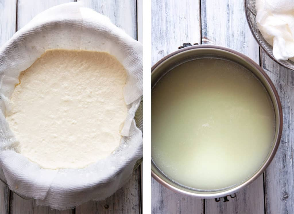 The creamiest, smoothest, most delicious homemade ricotta cheese. You won't believe how easy and foolproof this recipe is! #ricotta #homemade #cheese #italian #creamy #easy #recipe #simple #withoutcream #cream