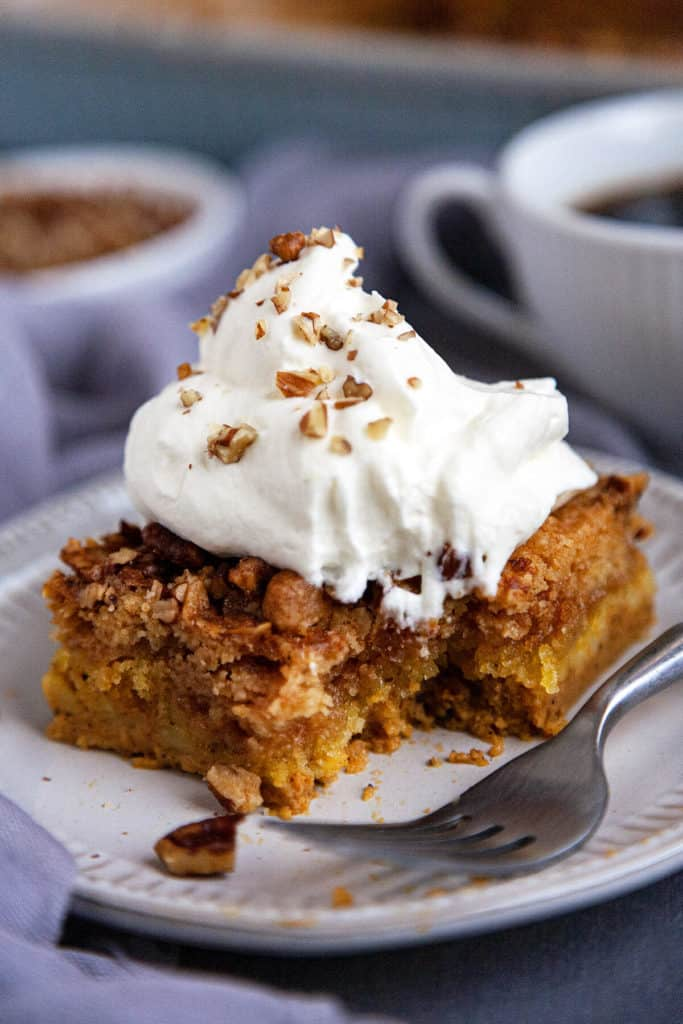 The BEST pumpkin crunch cake recipe you'll find! The perfect pumpkin fall dessert that takes minutes to put together! #pumpkin #crunch #cake #easy #quick #recipe #fall #dessert #thanksgiving #mix #video #best