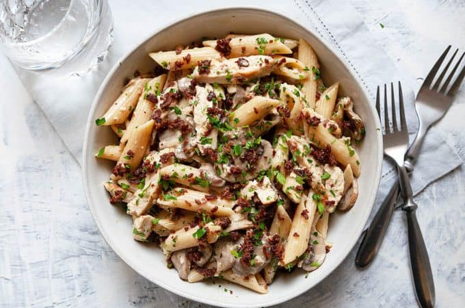 Chicken Bacon Mushroom Pasta in a creamy, garlicky parmesan sauce. A quick and easy pasta dish that the whole family will love. Ready in under 30 minutes.