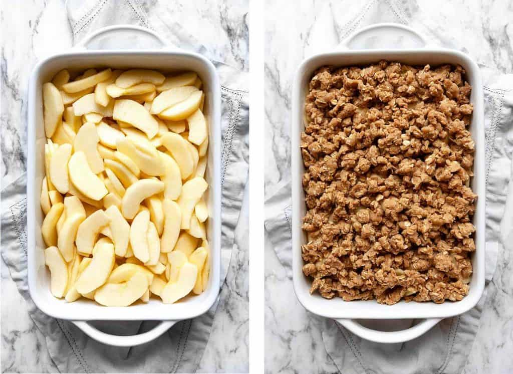 Quick and Easy Apple Crisp is bursting with sweet, juicy apples and a crunchy oat topping. This easy fruit crisp recipe is perfect served warm from the oven topped with a scoop of vanilla ice cream. The quintessential fall dessert recipe!