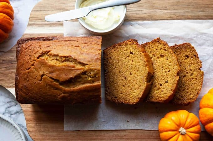 The BEST Pumpkin Bread I've ever had! It's ultra-moist with a perfectly soft and tender crumb. A touch of warm spices lets the pumpkin flavor really shine through. A favorite fall recipe!