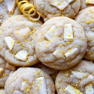 Thick and chewy cookies with chunks of white chocolate and a burst of bright, sunny lemon.